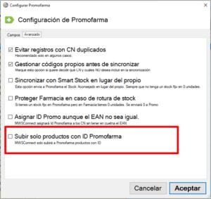 """Para configurar la sincronización de Promofarma con MWSConnect tan solo tienes que hacer click en el menú Promofarma y luego en la opción """"Configurar Sincronización con Promofarma""""En la ventana que aparece, elige la pestaña Avanzado y marca si quieres o no sincronizar solamente los productos que tengan ID Promofarma.De esta manera solo se mandará a Promofarma los registros que tengan un ID.Recuerda actualizar MWSConnect a la última versión para disponer de esta opción"""